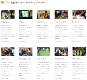 Screenshot of our top ten team building options