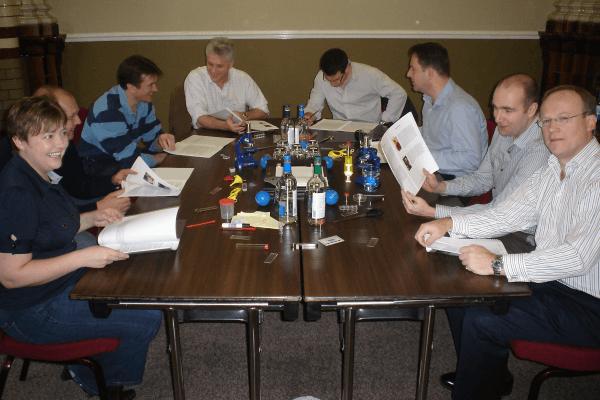 An executive team enjoying a strategic activity