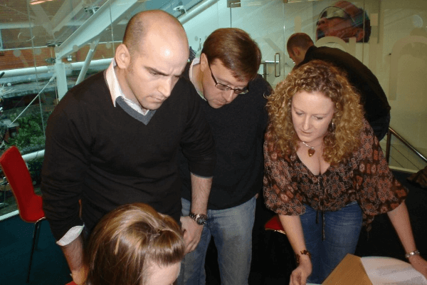 People tackling a learning-focused activity