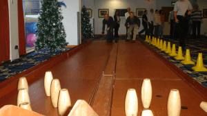Our authentic 1950s style skittle alleys delivers fun team building for sure